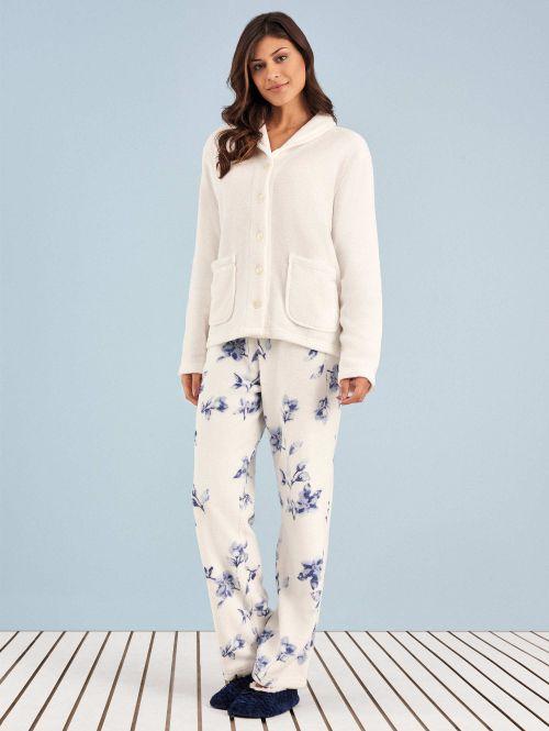 Pijama Longo Manga Longa Soft Aberto Flower Nina