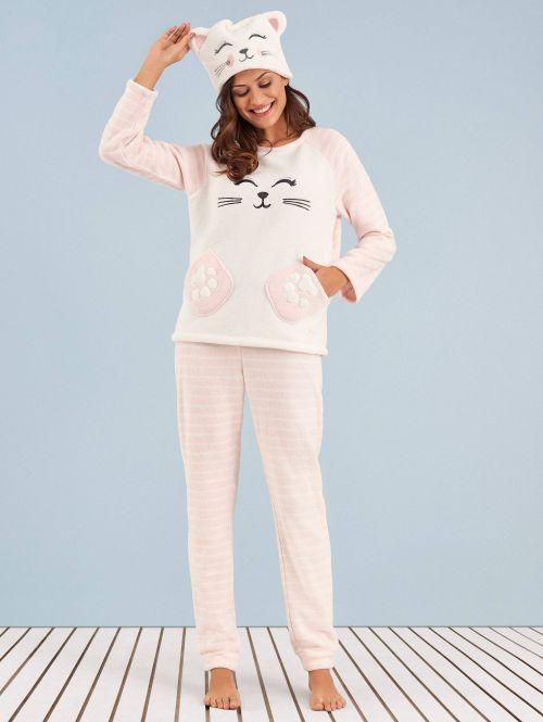 Pijama Manga Longa Soft Kitty Cat