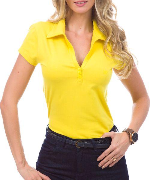 Camisa Polo Feminina Amarela Lisa