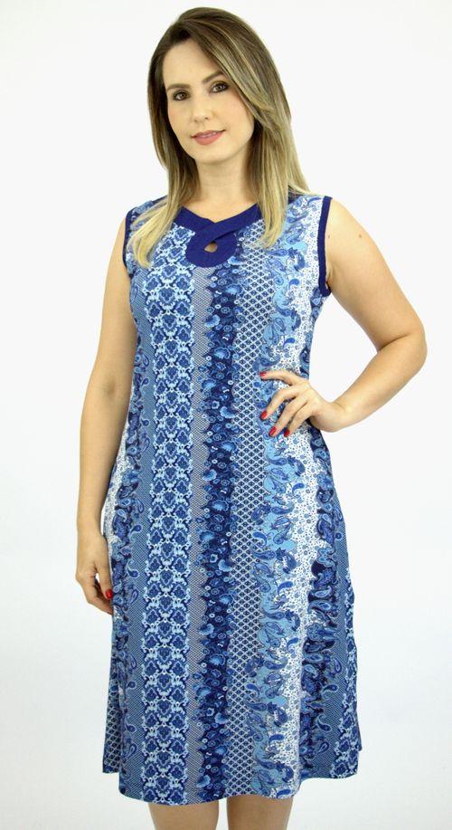 Vestido Pau a Pique Estampado Azul